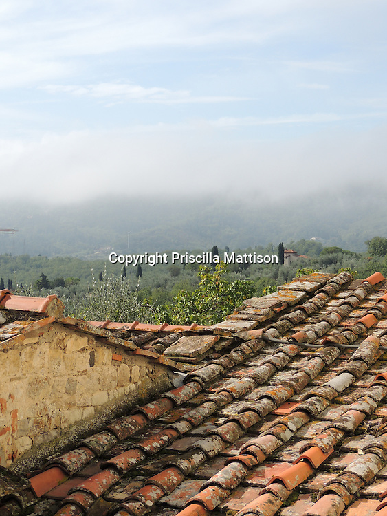Val d'Arno, Italy - October 2, 2012:  A view over Tuscan rooftops.