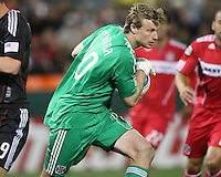 Andrew Dykstra #40 of the Chicago Fire makes a save during an MLS match against D.C. United on April 17 2010, at RFK Stadium in Washington D.C. Fire won 2-0.