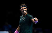 19th November 2020; O2, London;  Rafael Nadal of Spain celebrates a point won during the singles group match against StefanTsitsipas of Greece at the ATP, Tennis World Tour Finals 2020 in London