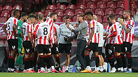 Brentford Manager, Thomas Frank talks to his players in the drinks break during Brentford vs Barnsley, Sky Bet EFL Championship Football at Griffin Park on 22nd July 2020