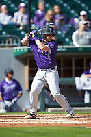 Logan Taplett (7) of the Furman Paladins at bat against the Wake Forest Demon Deacons at BB&T BallPark on March 2, 2019 in Charlotte, North Carolina. The Demon Deacons defeated the Paladins 13-7. (Brian Westerholt/Four Seam Images)