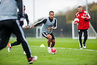 Tuesday 19 April 2016<br /> Pictured: Wayne Routledge of Swansea City in action during training.<br /> Re: Swansea City Training Session ahead of the away game against Leicester City FC