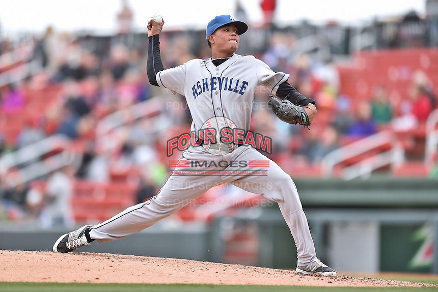 Asheville Tourists pitcher Cristian Quintin (30) delivers a pitch during a game against the  Greenville Drive at Fluor Field on April 10, 2016 in Greenville South Carolina. The Drive defeated the Tourists 7-4. (Tony Farlow/Four Seam Images)