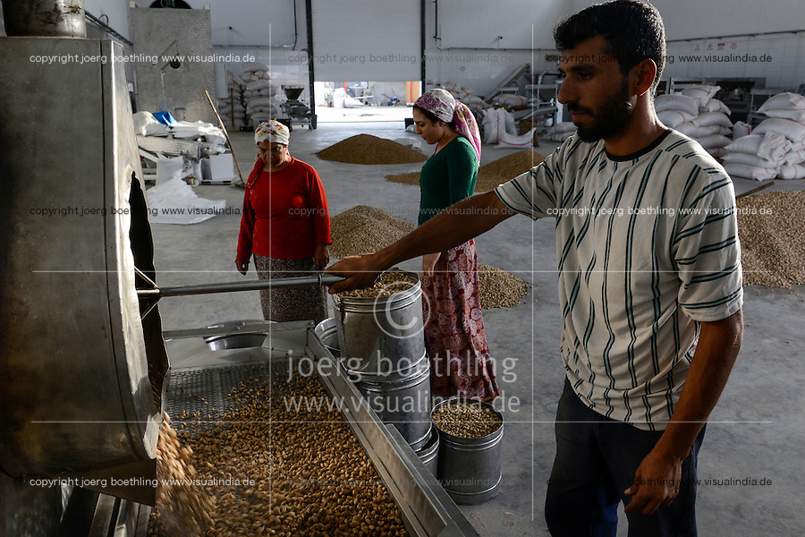 TURKEY, Nizip, factory for processing of pistachio after harvest, pistachio are salted and roasted / TUERKEI, Nizip, Fabrik fuer Verarbeitung von Pistazien, die gesalzen und geroestet werden