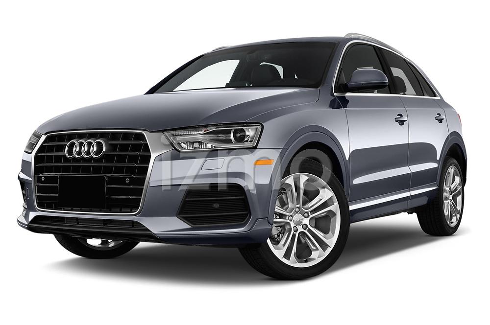 Stock pictures of low aggressive front three quarter view of 2018 Audi Q3  2.0T-FWD-tiptronic-Premium-Plus  5 Door SUV
