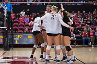 STANFORD, CA - November 15, 2017: Tami Alade, Merete Lutz, Kathryn Plummer, Morgan Hentz at Maples Pavilion. The Stanford Cardinal defeated USC 3-0 to claim the Pac-12 conference title.
