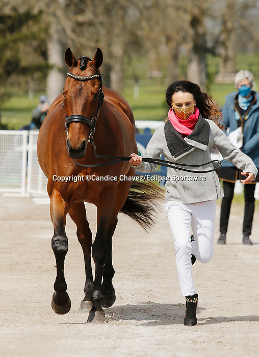 April 21, 2021: 16 Cecelia and rider Daniela Moguel from Mexico in the first horse veterinary inspection at the Land Rover Three Day Event at the Kentucky Horse Park in Lexington, KY on April 21, 2021.  Candice Chavez/ESW/CSM