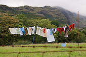 Washing drying on a clothes line in the village of Croesor, Snowdonia National Park.