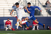Rene Recinos  (9) of Springdale outruns and Axel Ortiz (16)to score the second goal for Springdale against Rogers at Whitey Smith Stadium, Rogers High School, Rogers, Arkansas, on Friday, April 2, 2021 / Special to NWA Democrat Gazette David Beach