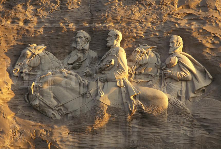 """AJ2661, Stone Mountain, Stone Mountain Park, Atlanta, Georgia, The Confederate Memorial Carving of President Jefferson Davis, General Thomas """"""""Stonewall"""""""" Jackson and General Robert E. Lee on Stone Mountain in Georgia's Stone Mountain Park near Atlanta in the state of Georgia."""