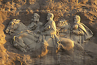 "AJ2661, Stone Mountain, Stone Mountain Park, Atlanta, Georgia, The Confederate Memorial Carving of President Jefferson Davis, General Thomas """"Stonewall"""" Jackson and General Robert E. Lee on Stone Mountain in Georgia's Stone Mountain Park near Atlanta in the state of Georgia."