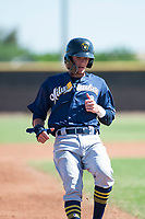Milwaukee Brewers shortstop Brice Turang (2) holds at third base during an Instructional League game against the San Diego Padres at Peoria Sports Complex on September 21, 2018 in Peoria, Arizona. (Zachary Lucy/Four Seam Images)