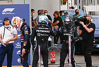 10th September, September 2021; Nationale di Monza, Monza, Italy; FIA Formula 1 Grand Prix of Italy, Free practise and qualifying for sprint race:  33 Max Verstappen NED, Red Bull Racing, 77 Valtteri Bottas FIN, Mercedes-AMG Petronas F1 Team, 44 Lewis Hamilton GBR, Mercedes-AMG Petronas F1 Team