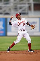 Altoona Curve shortstop Pablo Reyes (27) warmup throw to first during a game against the New Hampshire Fisher Cats on May 11, 2017 at Peoples Natural Gas Field in Altoona, Pennsylvania.  Altoona defeated New Hampshire 4-3.  (Mike Janes/Four Seam Images)