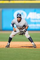 Wilmington Blue Rocks first baseman Mark Threlkeld (28) on defense against the Winston-Salem Dash at BB&T Ballpark on July 6, 2014 in Winston-Salem, North Carolina.  The Dash defeated the Blue Rocks 7-1.   (Brian Westerholt/Four Seam Images)