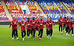 The Galatasaray players on the pitch at McDiarmid Park ahead of tonight's training session before facing St Johnstone in tomorrow nights Europa League qualifier second leg....11.08.21<br /><br />Picture by Graeme Hart.<br />Copyright Perthshire Picture Agency<br />Tel: 01738 623350  Mobile: 07990 594431