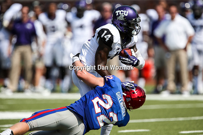 TCU Horned Frogs wide receiver David Porter (14) and Southern Methodist Mustangs defensive back Hayden Greenbauer (22) in action during the game between the TCU Horned Frogs and the SMU Mustangs at the Gerald J. Ford Stadium in Fort Worth, Texas. TCU defeats SMU 56 to 0.