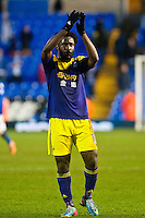 Saturday 25 January 2014<br /> Pictured: Wilfried Bony applauds fans after the game <br /> Re: Birmingham City v Swansea City FA Cup fourth round match at St. Andrew's Birimingham