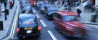 Blurred motion image of English traffic. London, England.