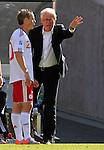 Thomas Enevoldsen (20) and Morten Olsen Soccer Football - 2010 FIFA World Cup - Group E - Netherlands v Denmark Johannesburg Soccer City Stadium South Africa, Monday, June 14, 2010.