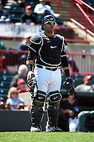 Erie SeaWolves catcher Ramon Cabrera (38) during a game against the Akron RubberDucks on May 18, 2014 at Jerry Uht Park in Erie, Pennsylvania.  Akron defeated Erie 2-1.  (Mike Janes/Four Seam Images)