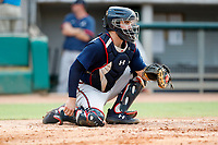 Mississippi Braves catcher Shea Langeliers (4) on defense against the Tennessee Smokies at Smokies Stadium on July 16, 2021, in Kodak, Tennessee. (Danny Parker/Four Seam Images)