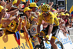 Yellow Jersey Julian Alaphilippe (FRA) Deceuninck-Quick Step finishes the stage in 2nd place atop the Col du Tourmalet at the end of Stage 14 of the 2019 Tour de France running 117.5km from Tarbes to Tourmalet Bareges, France. 20th July 2019.<br /> Picture: Colin Flockton | Cyclefile<br /> All photos usage must carry mandatory copyright credit (© Cyclefile | Colin Flockton)