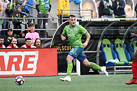SEATTLE, WA - NOVEMBER 10: Jordan Morris #13 of the Seattle Sounders FC runs with the ball during a game between Toronto FC and Seattle Sounders FC at CenturyLink Field on November 10, 2019 in Seattle, Washington.