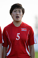 20190227 - LARNACA , CYPRUS : North Korean forward Wi Jong-sim pictured during a women's soccer game between Korea DPR and Czech Republic , on Wednesday 27 February 2019 at the GSZ Stadium in Larnaca , Cyprus . This is the first game in group A for both teams during the Cyprus Womens Cup 2019 , a prestigious women soccer tournament as a preparation on the Uefa Women's Euro 2021 qualification duels and the Fifa World Cup France 2019. PHOTO SPORTPIX.BE | STIJN AUDOOREN