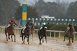 February 6, 2021: Boldor (5) (far left) with jockey David Cabrera aboard fighting off Seven Nation Army (2) and Mr. Jagermeister (6) to win the King Cotton Stakes at Oaklawn Racing Casino Resort in Hot Springs, Arkansas on February 6, 2021. Justin Manning/Eclipse Sportswire/CSM