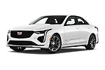 Stock pictures of low aggressive front three quarter view of 2020 Cadillac CT4-V V-Series 4 Door Sedan Low Aggressive