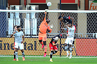 WASHINGTON, DC - NOVEMBER 8: Bill Hamid #24 of D.C. United saves a shot on goal during a game between Montreal Impact and D.C. United at Audi Field on November 8, 2020 in Washington, DC.