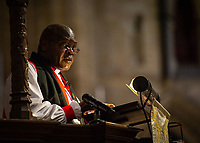 Pictured: The Archbishop of York, Dr John Sentamu. Sunday 11 November 2018<br /> Re: Commemoration for the 100 years since the end of the First World War on Remembrance Sunday at York Minster, England, UK