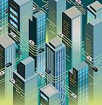 Illustration of cars in futuristic city