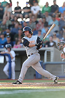 Shilo McCall (28) of the Salem-Keizer Volcanoes bats during a game against the Hillsboro Hops at Ron Tonkin Field on July 27, 2015 in Hillsboro, Oregon. Hillsboro defeated Salem-Keizer, 9-2. (Larry Goren/Four Seam Images)