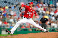 5 July 2009: Washington Nationals' starting pitcher Scott Olsen on the mound against the Atlanta Braves at Nationals Park in Washington, DC. Olsen came within one out of his first career complete game as he helped the Nationals defeat the Braves 5-3 to take the rubber game of their 3-game weekend series. Mandatory Credit: Ed Wolfstein Photo