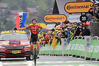 3rd July 2021; Oyonnax, Auvergne-Rhône-Alpes, France; TOUR DE FRANCE 2021 UCI Cycling World Tour Stage 8  from Oyonnax to Le Grand Bornand; <br /> Dylan Teuns Belgium (TBY) celebrates as he crosses the finish line in Le Grand Bornand