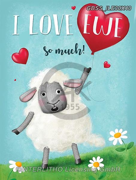 Sandra, VALENTINE, VALENTIN, paintings+++++,GBSSILE30X40,#v#, EVERYDAY,sheep,sheeps
