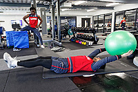 (L-R) Wilfried Bony and Kristoffer Nordfeldt exercise in the gym during the Swansea City Training and Press Conference at The Fairwood Training Ground, Swansea, Wales, UK. Thursday 25 January 2018