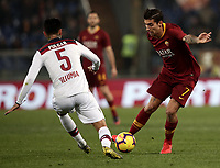 Football, Serie A: AS Roma - Bologna FC, Olympic stadium, Rome, February 18, 2019. <br /> Roma's Lorenzo Pellegrini (r) in action with Bologna's Erick Pulgar (l) during the Italian Serie A football match between AS Roma and Bologna FC at Olympic stadium in Rome, on February 18, 2019.<br /> UPDATE IMAGES PRESS/Isabella Bonotto
