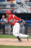 Batavia Muckdogs outfielder Victor Castro (40) at bat during the first game of a doubleheader against the Connecticut Tigers on July 20, 2014 at Dwyer Stadium in Batavia, New York.  Connecticut defeated Batavia 5-3.  (Mike Janes/Four Seam Images)