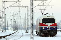 Pictured: A train in Larissa railway station, central Greece.<br /> Re: Heavy snow affects most parts of Greece