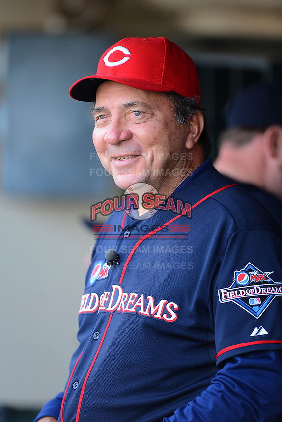 Hall of Fame catcher Johnny Bench #5 in the dugout during the MLB Pepsi Max Field of Dreams game on May 18, 2013 at Frontier Field in Rochester, New York.  (Mike Janes/Four Seam Images)