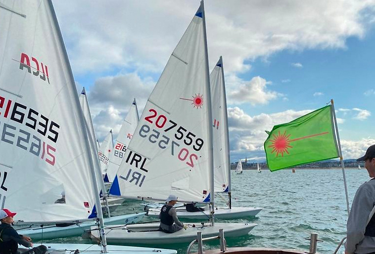 Laser dinghy sailors prepare for a race start at the Grant Thornton Sprint  2021 in Dun Laoghaire Harbour