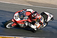 Jason DiSalvo races to victory in the Daytona 200 motorcycle race at Daytona International Speedway, Daytona Beach, FL, March 2011.(Photo by Brian Cleary/www.bcpix.com)