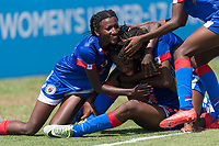 Bradenton, FL - Sunday, June 12, 2018: Milan Pierre, Melchie Dumonay prior to a U-17 Women's Championship 3rd place match between Canada and Haiti at IMG Academy. Canada defeated Haiti 2-1.