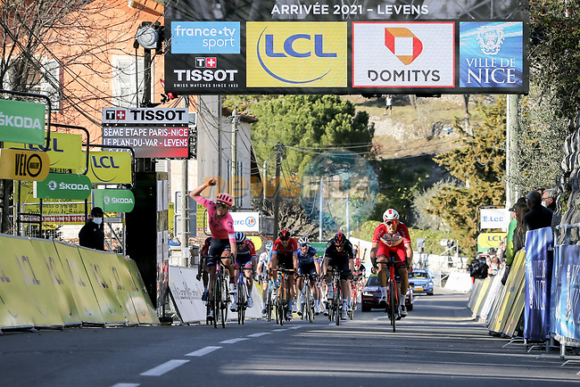Magnus Cort Nielsen (DEN) EF Education-Nippo wins the sprint ahead of Christophe Laporte (FRA) Cofidis to win Stage 8 of Paris-Nice 2021, running 92.7km from Le Plan-du-Var to Levens, France. 14th March 2021.<br /> Picture: ASO/Fabien Boukla   Cyclefile<br /> <br /> All photos usage must carry mandatory copyright credit (© Cyclefile   ASO/Fabien Boukla)