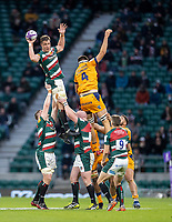 21st May 2021; Twickenham, London, England; European Rugby Challenge Cup Final, Leicester Tigers versus Montpellier; Jasper Wiese of Leicester Tigers wins a line out from Verhaeghe of Montpellier