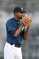 Starting pitcher Nicolas Debora (40) of the Columbia Fireflies delivers a pitch in a game against the Charleston RiverDogs on Monday, August 27, 2018, at Spirit Communications Park in Columbia, South Carolina. Charleston won, 4-0. (Tom Priddy/Four Seam Images)