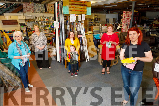 Members of the Making Masks in Kerry Group, collecting the donated fabric at The Fabric And Furniture Centre - Ballybeggan, Tralee on Thursday.<br /> Front: Linda Ahern (Killorglin).<br /> Back l to r: Mag Carroll (Causeway), Sandra Foran (Fabric And Furniture Centre), Aylish Lyons and Ollie O'Connell (Tralee) with Trish O'Connell O'Riordan (Causeway).